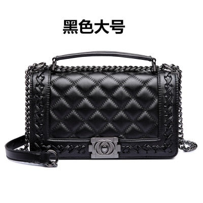 Bag For Women Leather Handbags 2018 Brand Fashion Designer Lattice Shoulder Bags Casual Quilted Chain Black Tote Top-handle bag