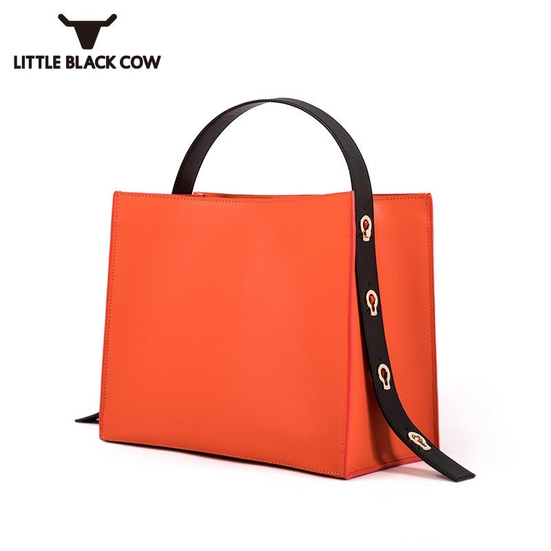 Orange Square Women Handbag Big Casual OL Office Lady Bag Tote Spanish Wide Strap Sling Shoulder Bag Female Large Bolsos Mujer