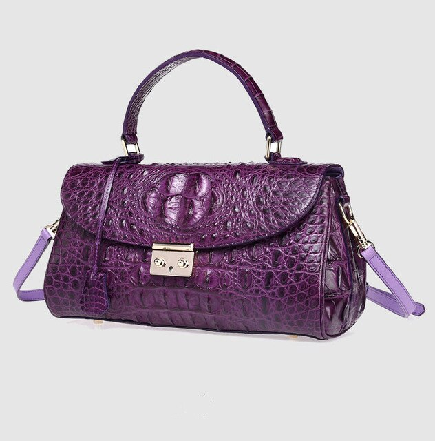 Hot 100% Leather Crocodile Leather Bag High-end Women Handbags High Quality Green Purple Large Capacity Ladies Business Clutch