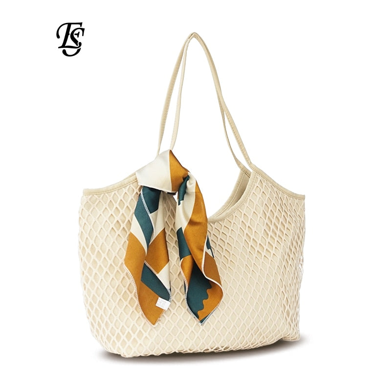 Canvas Mesh Beach Bag 2019 New Trend Fashion Canvas Net Bag Female Bag women handbag shoulder bag Khaki Black Blue White