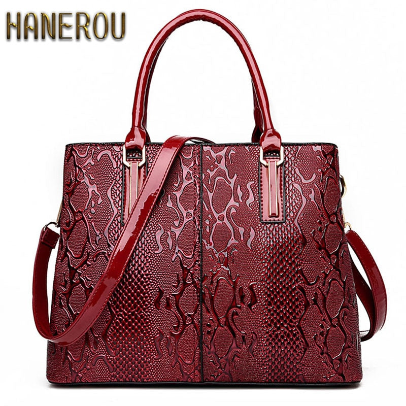 New Fashion PU Leather Women Bag Ladies Luxury Snake Shoulder Bags Designer Handbags High Quality 2019 Spring Ladies Tote Bag