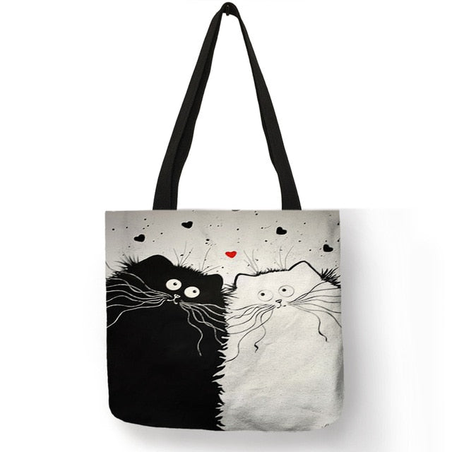 Simple Style Women Handbag Cartoon Cute Black Cat Prints Shoulder Bag Eco Linen Practical Useful Shopping Work Lady Tote Bags