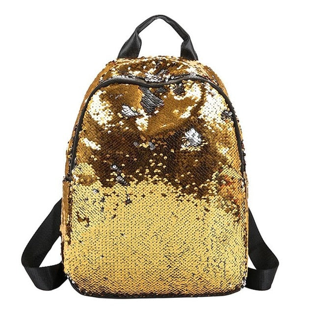 Glitter Backpack Women Sequins Knapsack Teenage Girls Rucksack Fashion Female Gold Black School Sequin Bag Casual travel