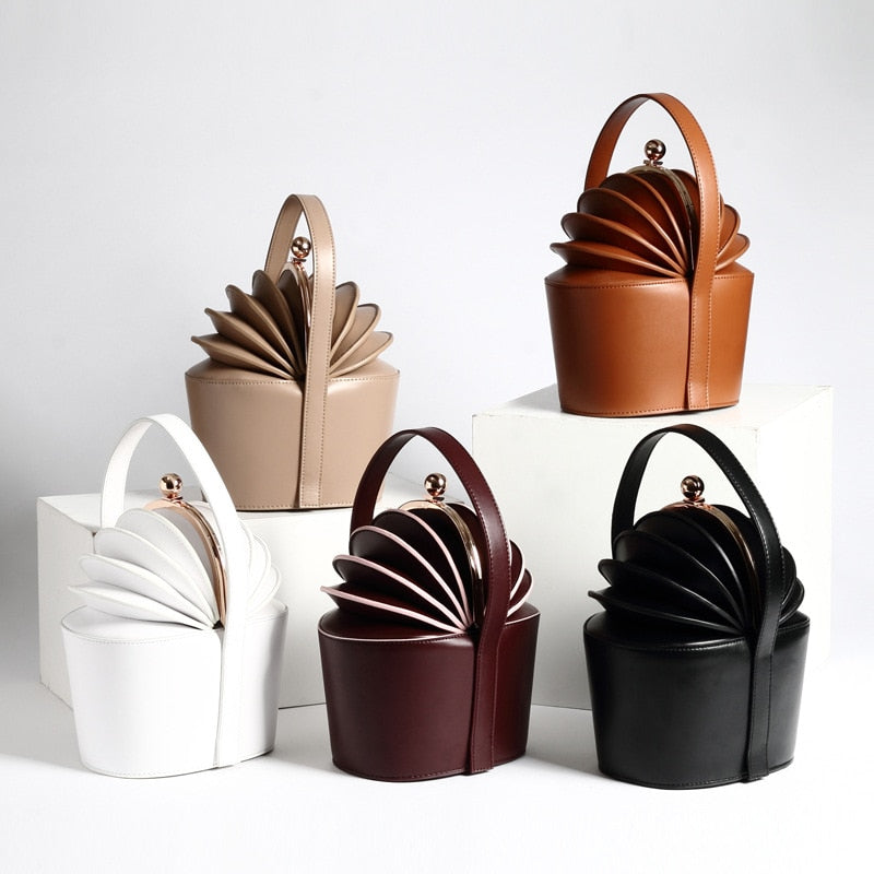 New Genuine Leather Women Handbag Leather Organ Bucket Fashion Design Handbags Famous Brand High Quality
