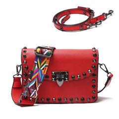 Fashion Rivet Women Messenger Bags small Female Flap Shoulder Bags brand luxury design 2 Wide shoulder straps Messenger Bag red