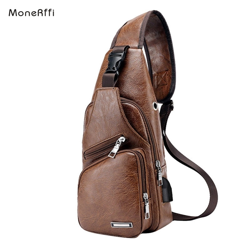 Chest Bag Men Leather Chest Pack