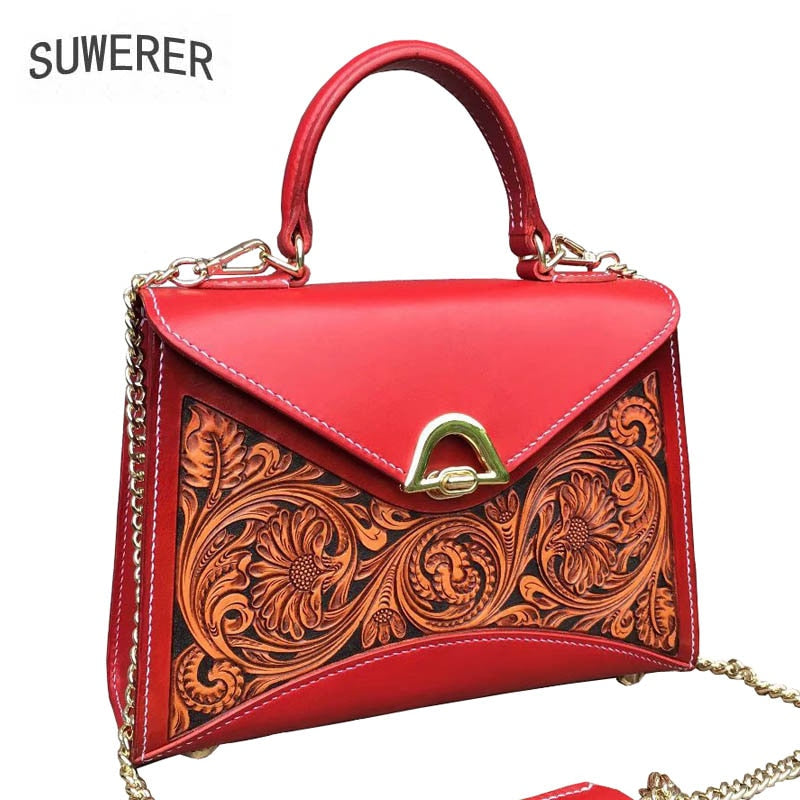 Women Genuine Leather bags 100% handmade carving  Luxury cowhide Genuine Leather women bags designer tote women leather handbags
