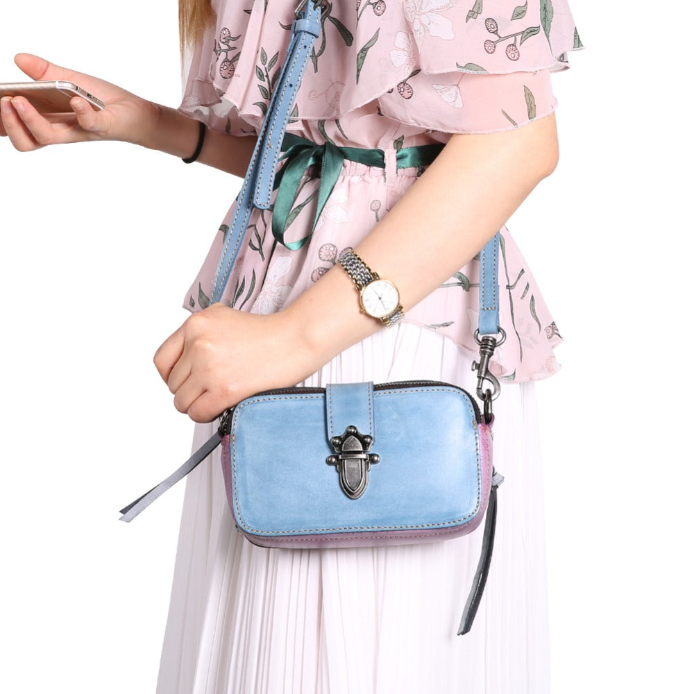 XIYUAN Women Fashion Real cowhide Leather Messenger Bag Girls blue/purple Shoulder Bag Female Small Crossbody Bag Phone Purse