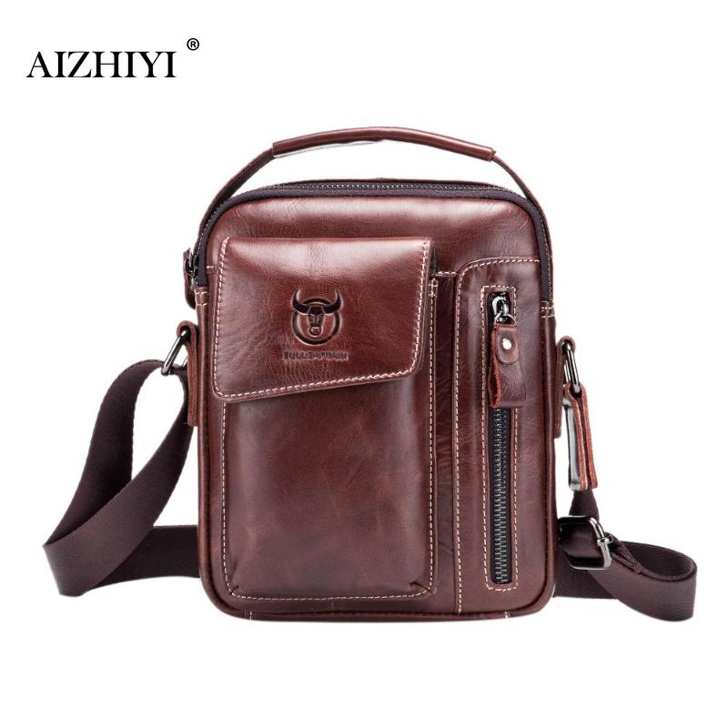 Men Genuine Leather Messenger Crossbody Bag