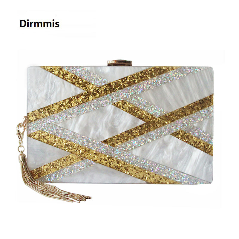 2019 New Acrylic Brand Fashion Women Evening Bags Luxury Gold Sequined Handbags Elegant Tassel Party Prom Wedding White Clutch