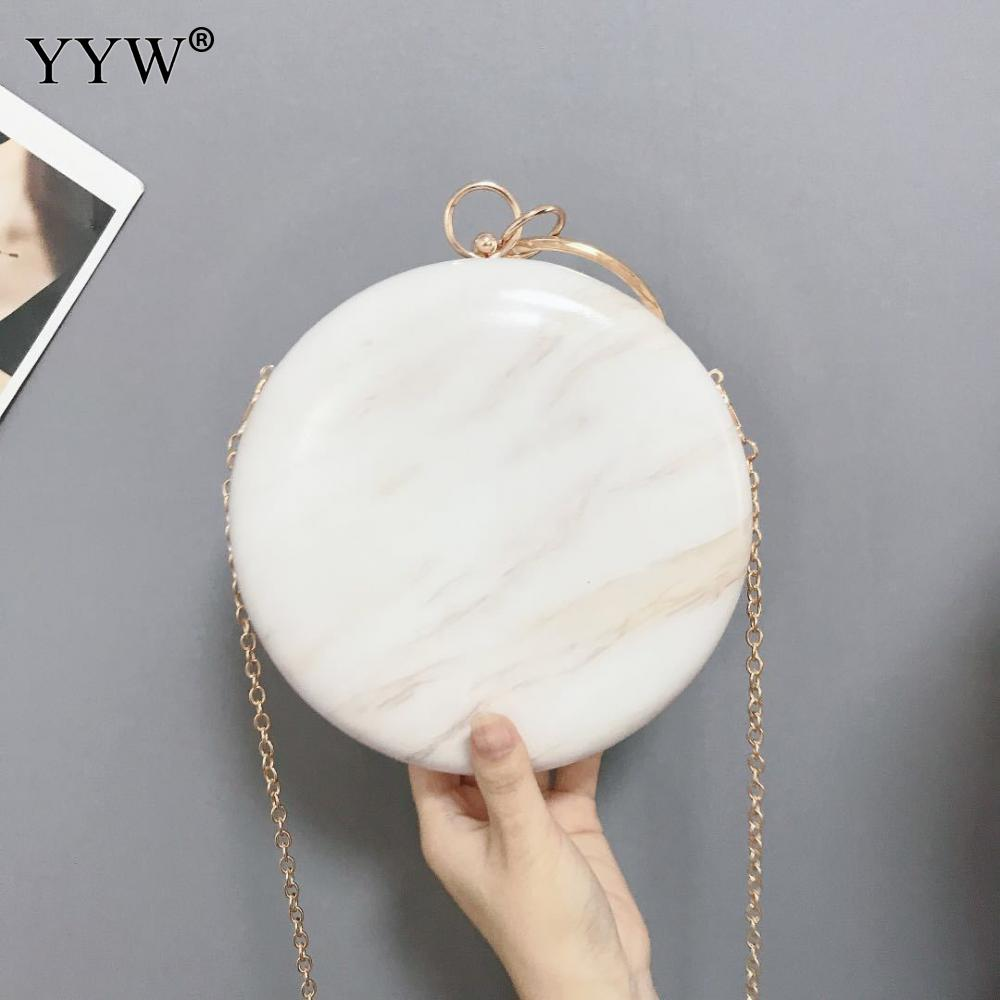 Fashion Elegant Round Evening Clutch Famous Designer Bags For Women 2019 Big Ring Handbag White Luxury Handbags shoulder bag