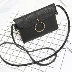Litchi Pattern Casual New Ring Key Black, Gray, Pink, Red Casual, Shopping Handbag Shoulder Bag Women Button