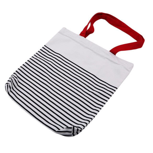 Canvas Bohemian Style Striped Shoulder Beach Bag