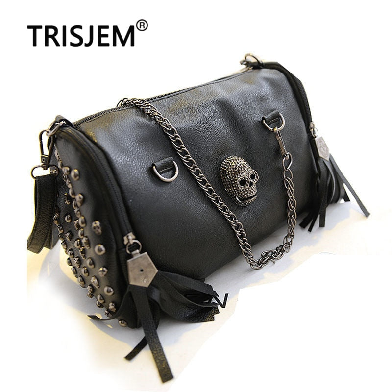 Women Skull Bag Rivet Punk Shoulder Bags Studded Handbag Luxury Motorcycle Crossbody Bolsa Lady Vintage Black Bags Satchel Woman