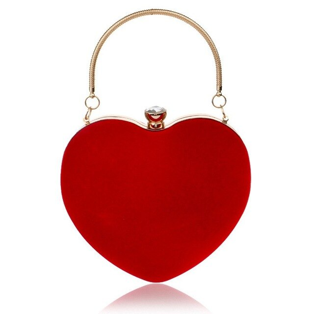 2019 Evening Bags For Party Wedding Heart Shaped Diamonds Women Evening Bags Red/Black Chain Shoulder Purse Day Clutches KL112