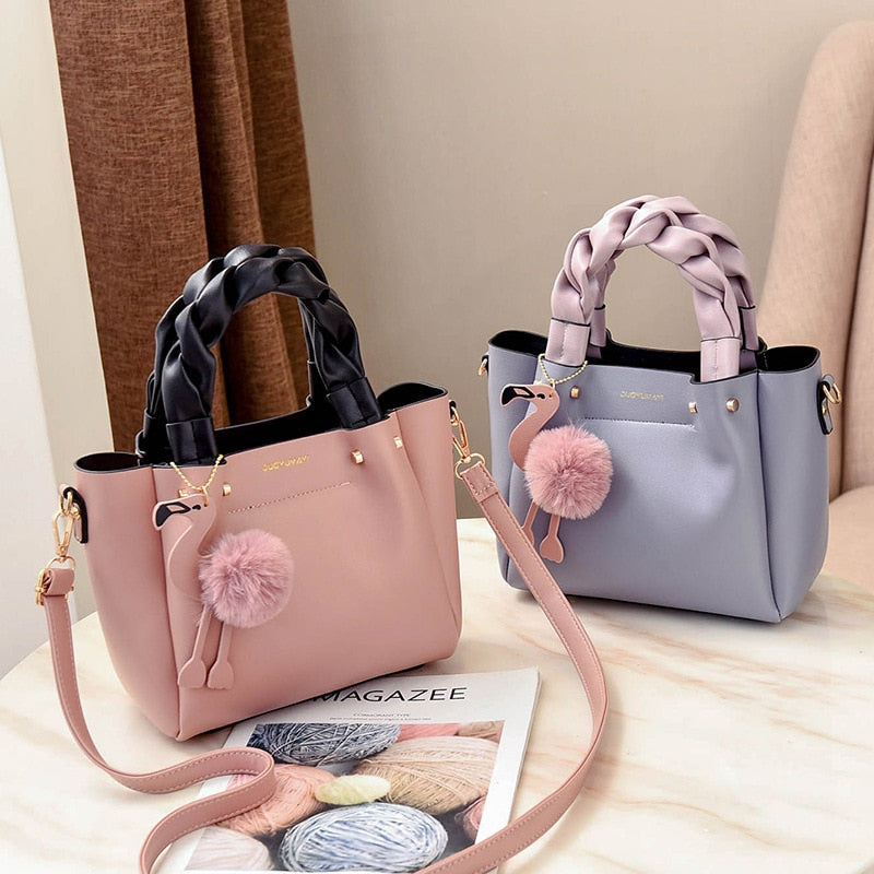 New Design Female Bag Handbag Ladies Phone Pocket Soft Woman Handbags Flap Flamingo Tassel Leather Women Shoulder Crossbody Bags