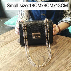 Fashion Ladies Crocodile Flap Bag Designer Handbags Women Bags 2018 Black White Small Day Clutch Gold Chain Girls Crossbody Bags