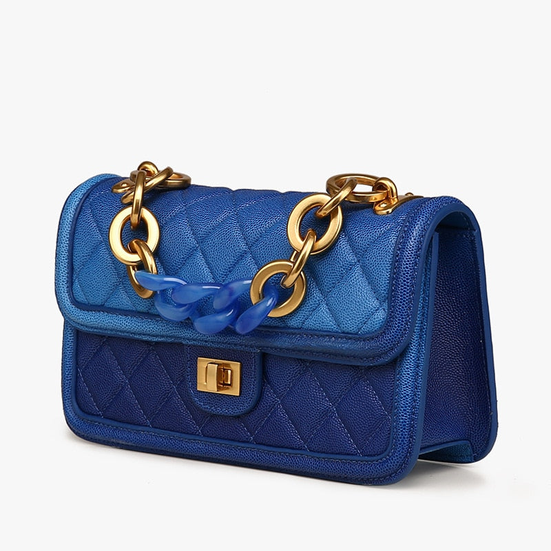 2019 Spring Women Brand Geniune Leather Fashion Diamond Lattica Blue Chains Handbags Shoulder Bags Ladies Hand Bags Lovely