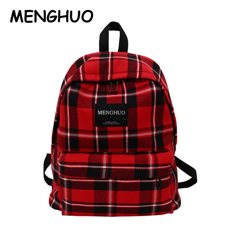 Menghuo Personality Plaid Ladies Backpack New Fashion Women Bags High Quality Large Capacity Student Bag Casual Travel Backpacks