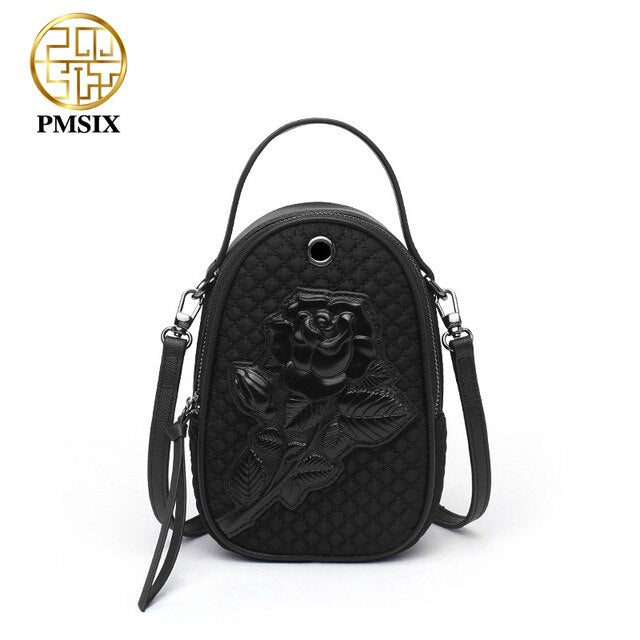 PMSIX 2019 High Quality Embossed Floral Women Shoulder Bag Simple Zipper Long Straps Canvas Crossbody Bag Red Designer Handbags