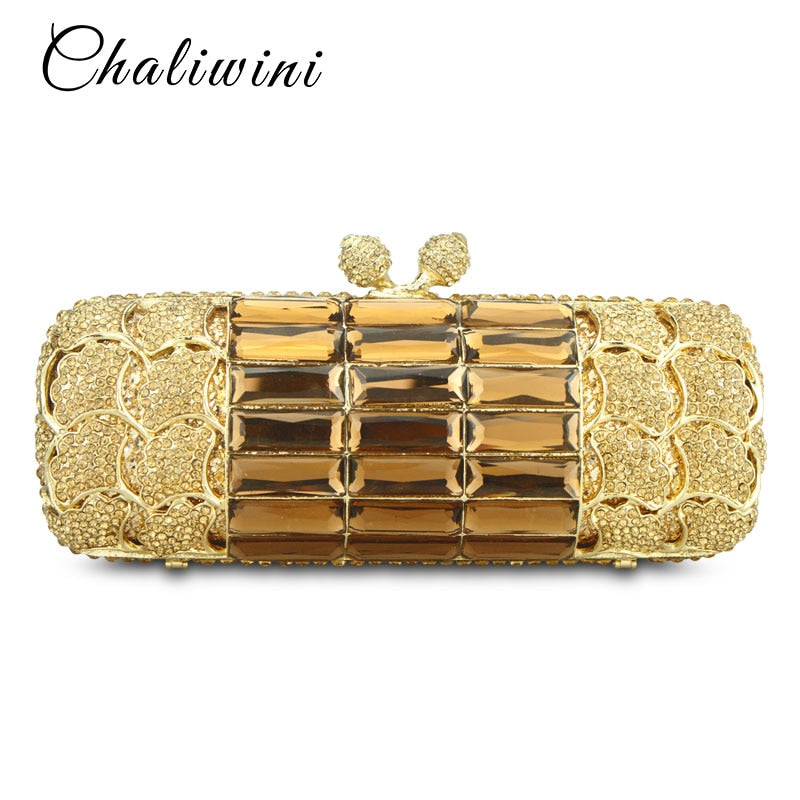 Chaliwini Luxury Gold Sequined Diamond Hollow Out Women Evening Clutch Purses Chain Wedding bag Phone Pocket Party Day Handbags