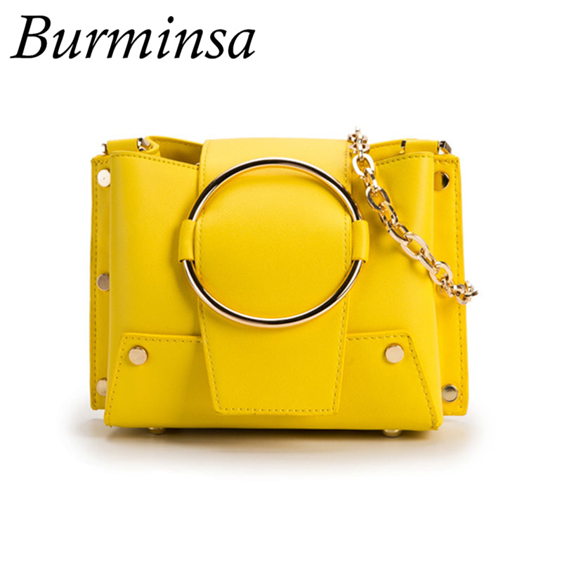 Burminsa Ring Small Bucket Chain Crossbody Bags Women Purse High Quality Ladies Shoulder Messenger Bags 2019 Yellow Black White