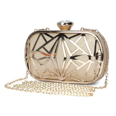 Women Evening Bags Exquisite Leather Handbag Metal Hollow Designer Wedding Party Clutch Purse
