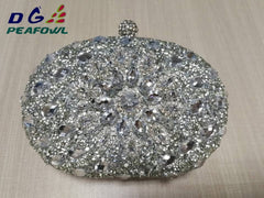 Luxury Clutch chain bag woman wedding diamond crystal Floral blue red Sling designer purse cell phone pocket wallet Handbags
