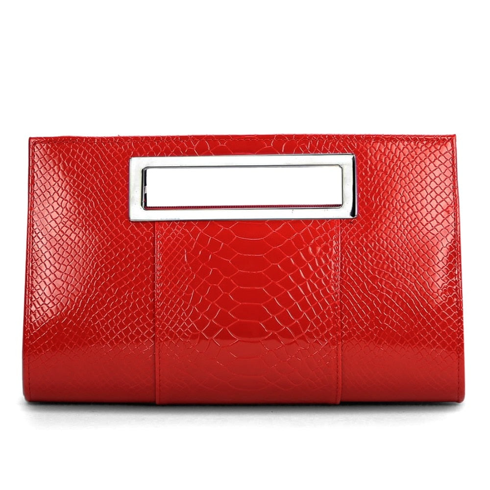 Korean Patent Alligator PU Leather Clutch Bag Women Square Shoulder Handbag Small Bag Lady Evening Bag Red Bolsa Feminina
