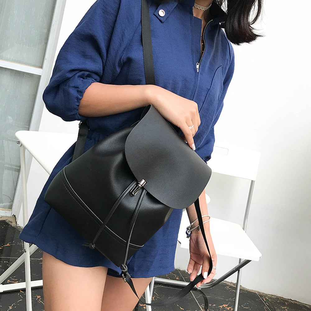 Fashion Vintage Pure Color Leather Simply School Bag Backpack Satchel Women Trave Shoulder Bag mochila feminina HW