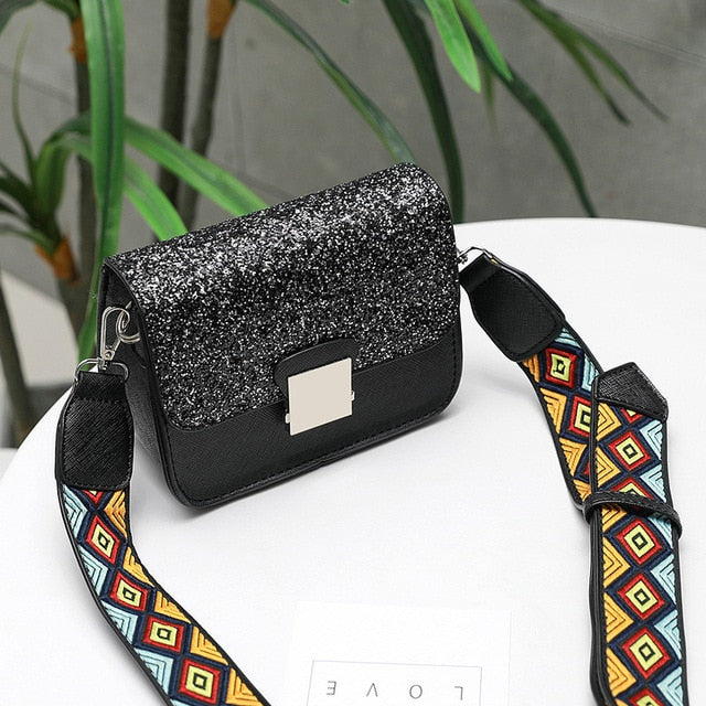 Sequined Luxury Brand Designer Women Handbag Female Shoulder Bag Yellow Crossbody Messenger Bag 2019 Summer New Sac A Main Bolsa