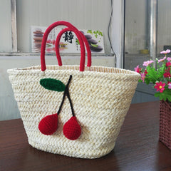 ICON Summer Shopping Large Totes Boho Bags Red Cherry Pom Ball Design Beach Bag Handmade Woven Straw Handbags for Women Should