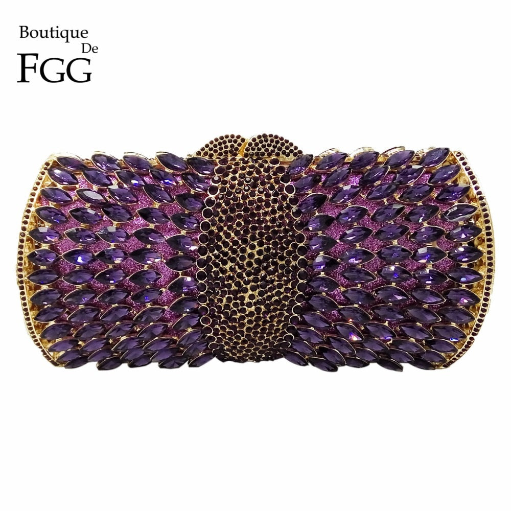 Boutique De FGG Elegant Purple Women Crystal Evening Bags Hollow Out Ladies Diamond Minaudiere Wedding Clutch Handbag and Purse