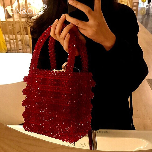 Pearls bag Acrylic crystal clear beaded box totes bag women retro party handbag red 2019 summer vintage brand wholesale