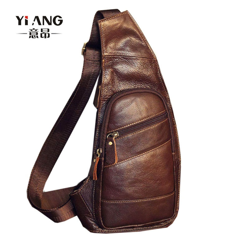 Men's Vintage Genuine Leather Sling Chest Bag Cross Body Messenger Shoulder Packet Motorcycle for Travel Riding Hiking Pouch