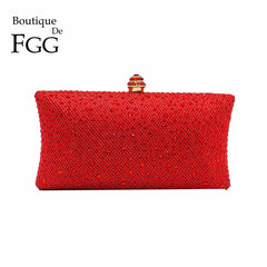 Boutique De FGG Ruby Red Diamond Women Clutch Evening Bags Shiny Glitter Wedding Purses and Handbags Ladies Party Crystal Bag