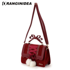 2018 New Fashion Liz Lisa Cute Bow Shoulder Bags Women Sweet Red Handbag Famous Brand Designer Girl Leather Shoulder Bag