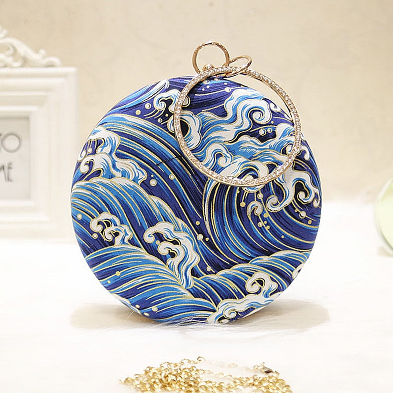 Meloke 2019 Women Retro Round evening bag blue fashion Rings Diamonds Clutches bag Lady embroidery wedding party Bags MN2019