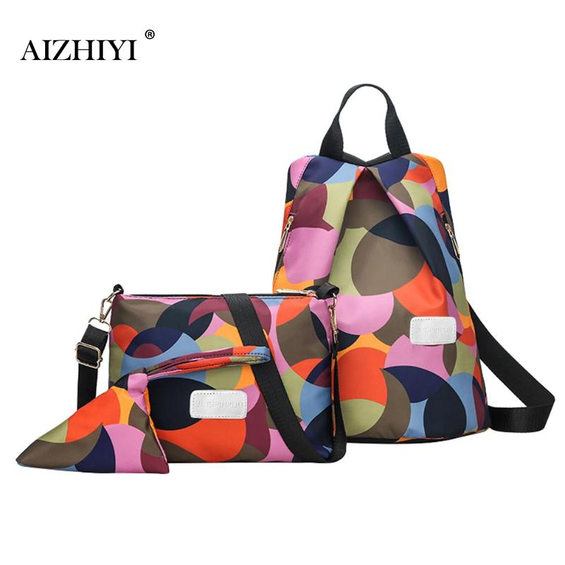 3pcs/set Geometric Print Backpack Women Oxford Multifunction Backpack Casual Travel Anti Theft Backpack for Girls Schoolbag 2019