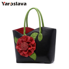 floral totes handbag women appliques flower shoulder bag summer 2019 shopping bag white green red purple color LL51
