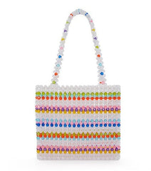 Ins Popular Bead Bag Rainbow Hand-woven Pearl Celebrity Handbag Europe United States Unique Design Colourful Ladies Party Bag