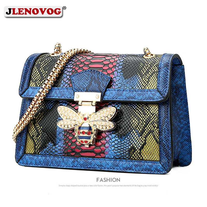 2019 Women's Luxury Snake Print Handbag Genuine Leather Bee Handbag  Crossbody Bag for Women Designer Shoulder Bag Purse