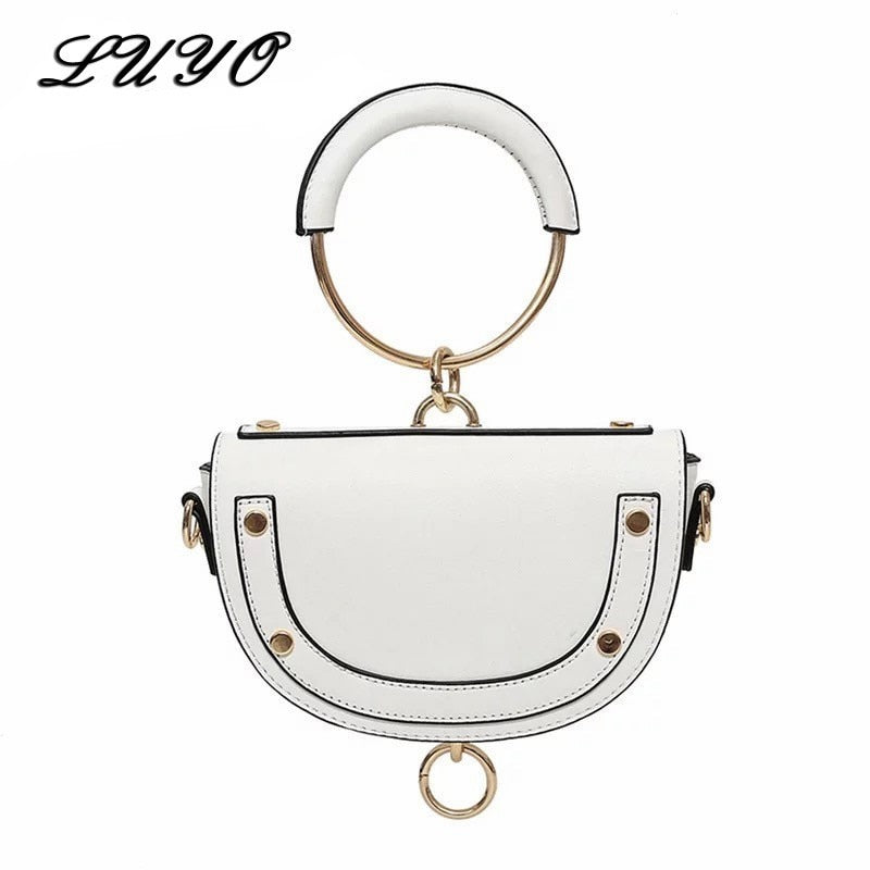 Famous Design 2019 Leather Metal Handle Semi-circular Luxury Handbags Women Crossbody Shoulder Bags Designer For Female Clutch