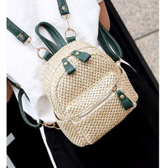 2019 New Straw Hand bags Woven Handmade Backpack for Teenager Girls Hollow Out Backbag Bali Rattan Female Tote Shoulder Bag W309