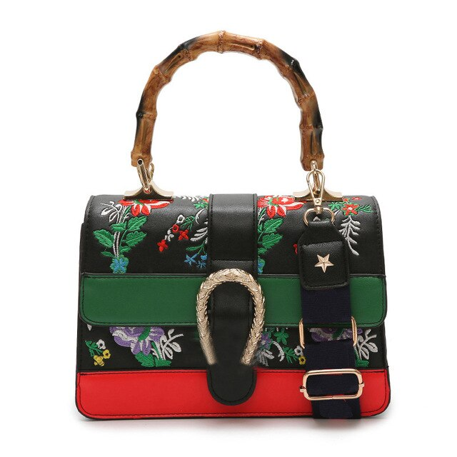 Women's Fake Designer Bamboo Handbag Female Luxury Floral Embroidery Crossbody Shoulder Bags for Women 2019 Handbags and Purse