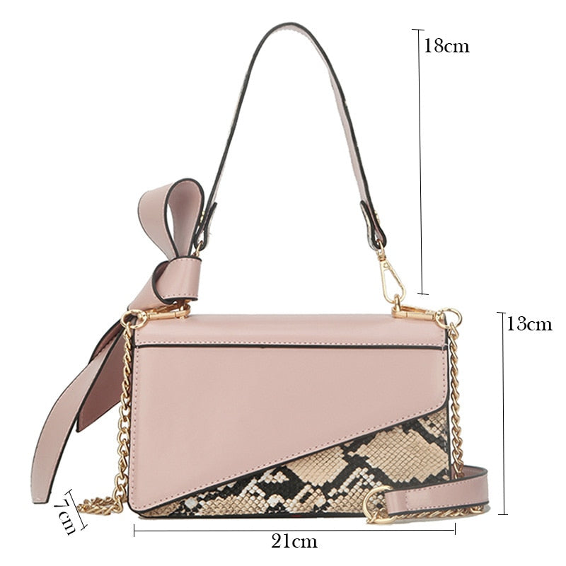 Women's mini Snake Print Leather Bow Shoulder Bag Famous Brand Designer handbags High Quality White Camel Crossbody Tote Clutch