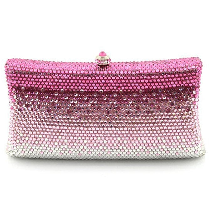 XIYUAN BRAND hot pink Bridesmaid Clutch wallet Women Evening bags Ladies Crystal Day Clutches Wedding Purse Party Banquet bag