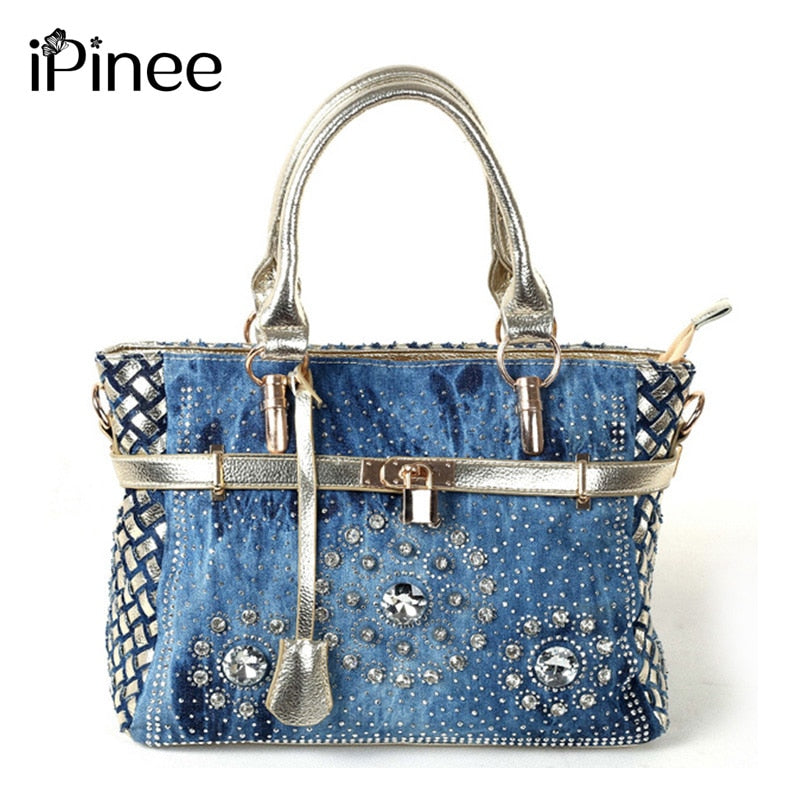 iPinee Summer 2019 Fashion womens handbag large oxford shoulder bags patchwork jean style and crystal decoration blue bag