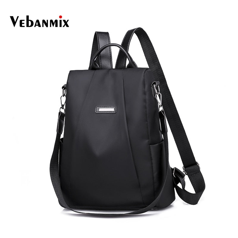 Fashion School Bags for Teenage Girls 2018 Oxford Anti Theft Backpack Women Black Waterproof Solid Travel Daypacks Book Backbag