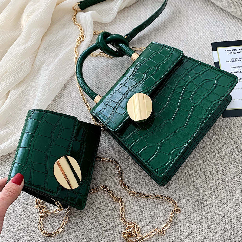 2019 Fashion New Tote bag Quality Leather Women's Designer Handbag Crocodile pattern Chain Shoulder Messenger Bag Bolsos Mujer